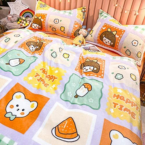 Winter plus velvet milk coral velvet bed wind double-sided French flannel bed sheet sheet-L food girl-thickening and velvet_2.0m bed 220 * 240 4pcs