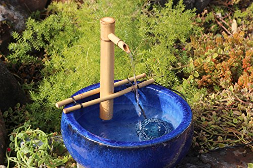"Bamboo Accents Water Fountain, Indoor/Outdoor Fountain, Medium 12"" Adjustable Branch-Style Support Arms, Smooth Split-Resistant Bamboo for Your Own DIY Garden Retreat"
