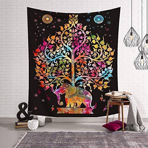 KHKJ Chakra Bohemian Tapestry Wall Hanging Wall Tapestry Blanket Decoration For Home Wall Fabric A1 150x130cm