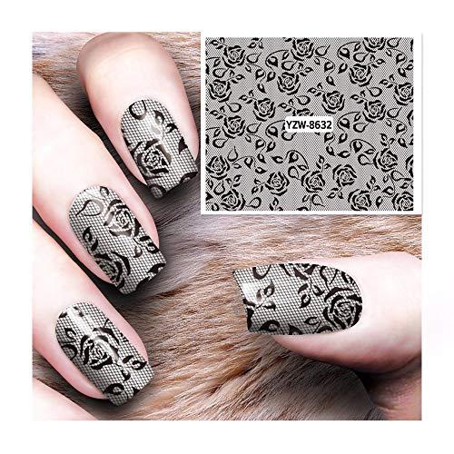 HDDWZH Nagelaufkleber,1 Blatt Spitze Blume Wassertransfer Nail Sticker Decals DIY Art Fashion Persönlichkeit Dekoration Fingernagel