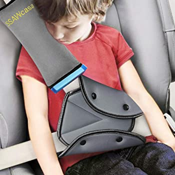 Seat Belt Adjuster and Pillow with Clip for Kids Travel,Neck Support Headrest Seatbelt Pillow Cover & Seatbelt Adjuster for Child,Car Seat Strap Cushion Pads for Baby Short People Adult (Gray)