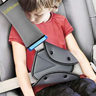 Seat Belt Adjuster and Pillow with Clip for Kids Travel,Soft Neck Support Headrest Seatbelt Pillow Cover & Seatbelt Adjuster for Child,Car Seat Strap Cushion Pads for Baby Short People Adult (Gray)