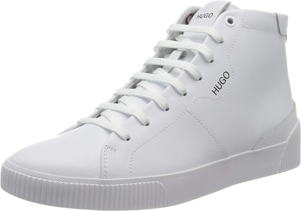 Hugo boss,sneakers high-top in pelle con logo per umo,in vera pelle 100% 50445727