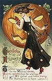 Halloween de voeux–Sorcière dansant et citrouille Antique 9 x 12 Art Print multicolore