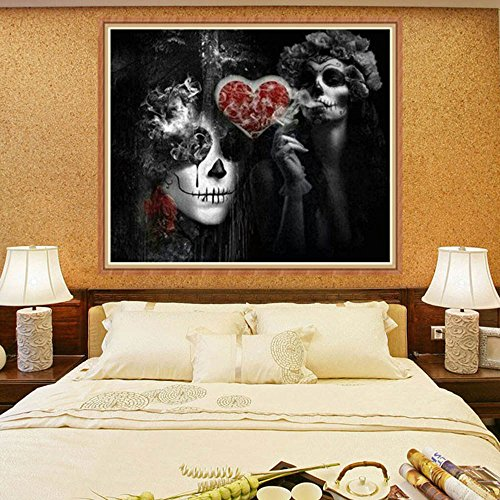 jieGorge DIY 5D Diamond Embroidery Painting Skull Cross Stitch Craft Home Decor , Decors for Home Christmas New Year (As Show)