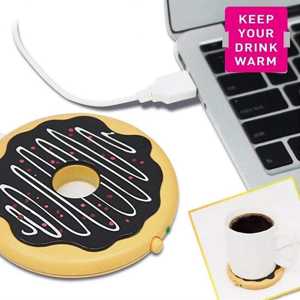 KingbeefLIU Alfombrilla De Taza Donut Oficina En Casa USB Calentador De Tazas Calentador Caf/é Bebida Calefacci/ón Taza Pad Color chocolate