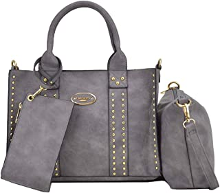 Women Vegan Leather Handbags Fashion Satchel Bags Shoulder Purses Top Handle Work Bags 3pcs Set