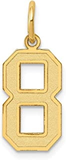 14k Gold Number Charm Pendant with Satin Finish - # 0 to 99 Available