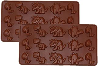 Silicone Mold for Baking, Jelly Pudding Cake and Sugar Decorating Tools Biscuit Cookie, Chocolate Topper Molds Animal 2 X Dinosaur Brown