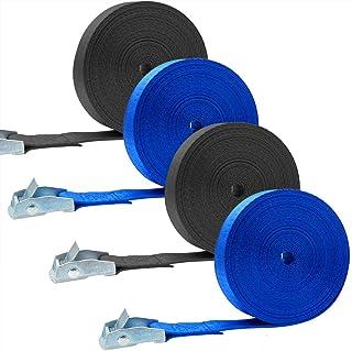 Akuoly 荷締めベルト 5M×4巻セット 荷締機 地震対策グッズ 荷締めバンド 締付固定 多用途 幅25mm 固定バンド ブル—と黒