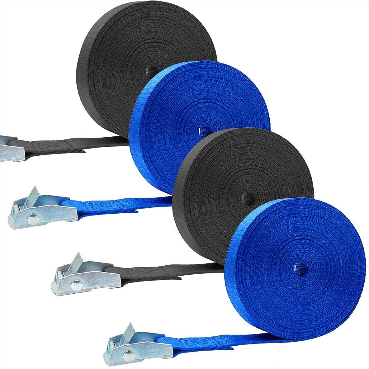 シーサイド精神的にチャームAkuoly 荷締めベルト 5M×4巻セット 荷締機 地震対策グッズ 荷締めバンド 締付固定 多用途 幅25mm 固定バンド ブル—と黒