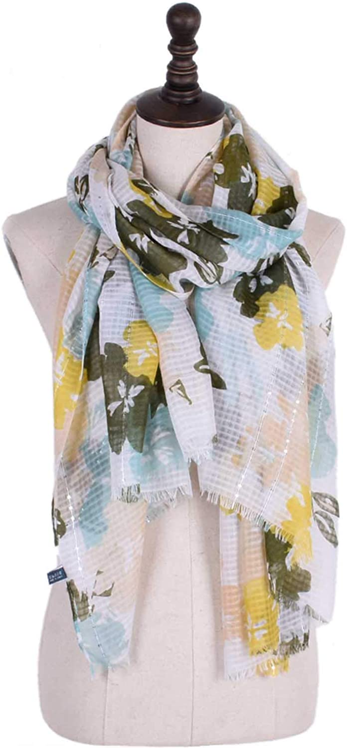 Beautiful Design Large Scarves Format Sequins Cotton and Linen Flower Print Elegant Tassel Shawl Four Seasons MultiFunction AntiCold airConditioning Sunscreen for Women (color   Yellow)