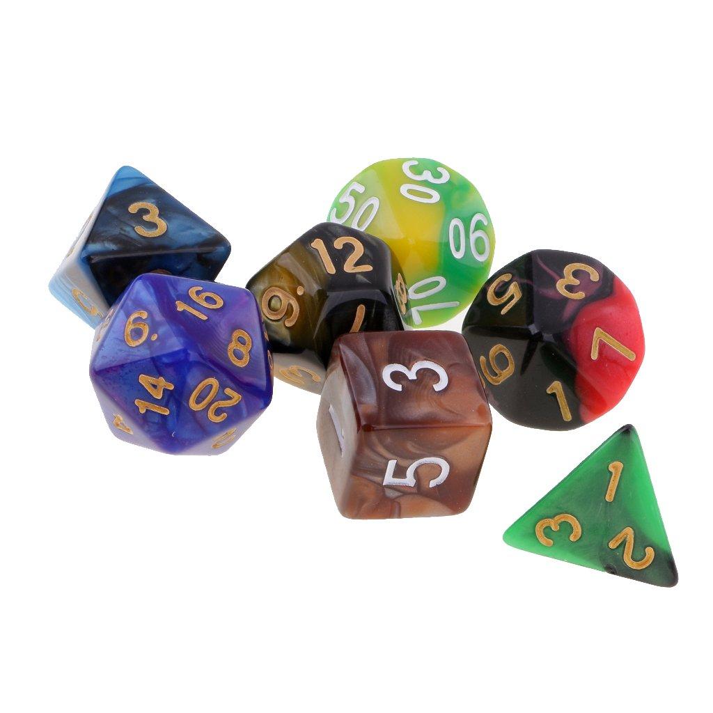 Hellery Juego De Mesa De Acrílico De 7 Piezas Dados Poliédricos Troquelados Multicolores para Juegos De rol - # 5: Amazon.es: Juguetes y juegos