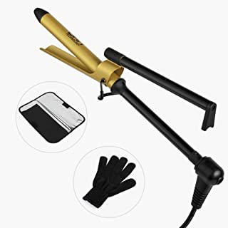 DAN Technology Ceramic Marcel Curling Iron with Heat Resistant Glove and Bag, Instant Heat Up Dual Voltage Curling Wand with Long Lasting Results, 3/4 Inch Plates for All Hair Types, Gold and Black