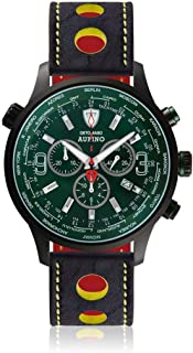 DETOMASO AURINO Racing Mens Watch Chronograph Analogue Quartz Blue Racing Leather Strap Green Dial DT1061-N-820
