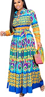 OLUOLIN Maxi Dresses for Women Plus Size - Casual Button Down Floral Boho Pleated Skirts
