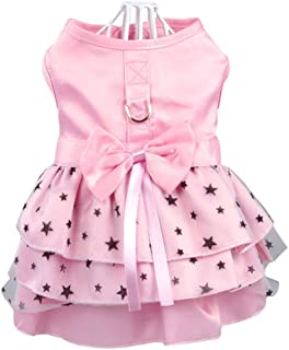 Hdwk&Hped Small Dog Dress with Leash Ring, Puppy Cat Skirt Pet Spring Summer Dress 2 Styles #1-#5
