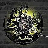 fdgdfgd Multicolor 3D Reloj de Pared de Dibujos Animados Princesa Película LED Reloj de Disco de Vinilo Reloj de Pared de Disco de Vinilo | Reloj de Pared de Bricolaje Luminoso de 7 Colores