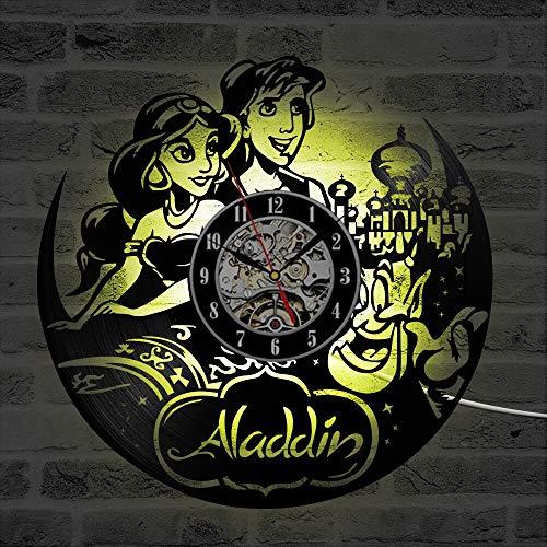 Lámpara de 7 Colores Película de Dibujos Animados CD Reloj de Registro Led Reloj deVinilo Redondo Reloj Colgante Decoración de habitación Antigua Reloj de Pared para niños
