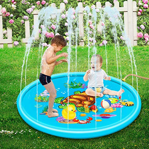 Adya Sprinkler Pad Splash Play Mat,Outdoor PVC Children Play Water Mat Beach Pad Inflatable Spray Water Cushion Toys,Durable Portable Inflatable Sprinkler Pad Sprinkle Wading Pool (110CM)