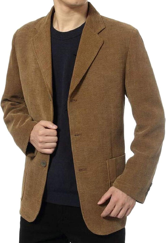 QD-CACA Men Slim Corduroy Blazer Notch Lapel Blazers Outwear Three-Button Jackets