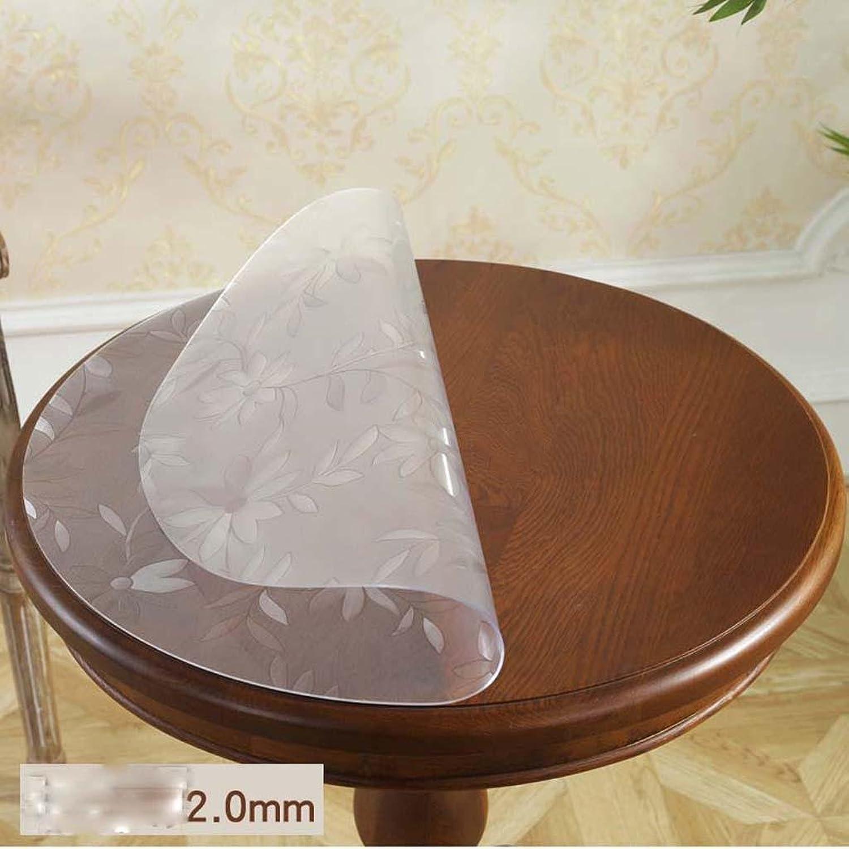 ZHOU Runde weiche Glas-PVC-Wasserdichte l-Chrysantheme-Muster-Tischdecke, 2.0mm, Diameter 120cm