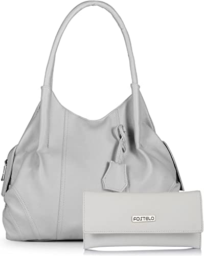 Women s Combo Handbag Clutch Grey White FSB 946 FC 31