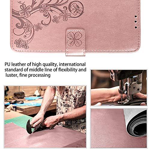 TOPOFU Flip Folio Hülle für Huawei P Smart 2021, Schutzhülle PU/TPU Leder Klapptasche Handytasche Retro Blumen Muster Design, mit Ständer und Kartenfächer, Handyhülle (Roségold)