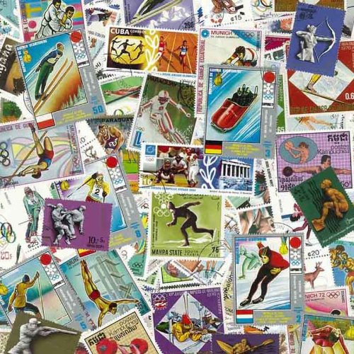 Collezione di 100 francobolli, tutti timbrati, tema Olimpiadi