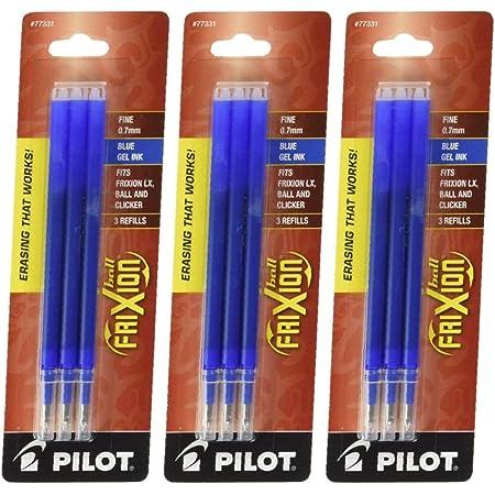 color azul 50pcs 0,5 mm Recambio de tinta de gel borrable para escribir punta fina