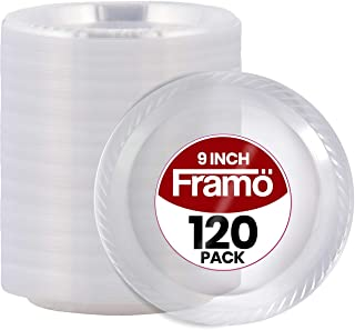 """9"""" Inch Disposable Clear Plastic Plates In Bulk By Framo for Party and Dinner,And For Any Occasion, Microwaveable, BPA-Free BBQ, Travel, and Events (120 Count)"""