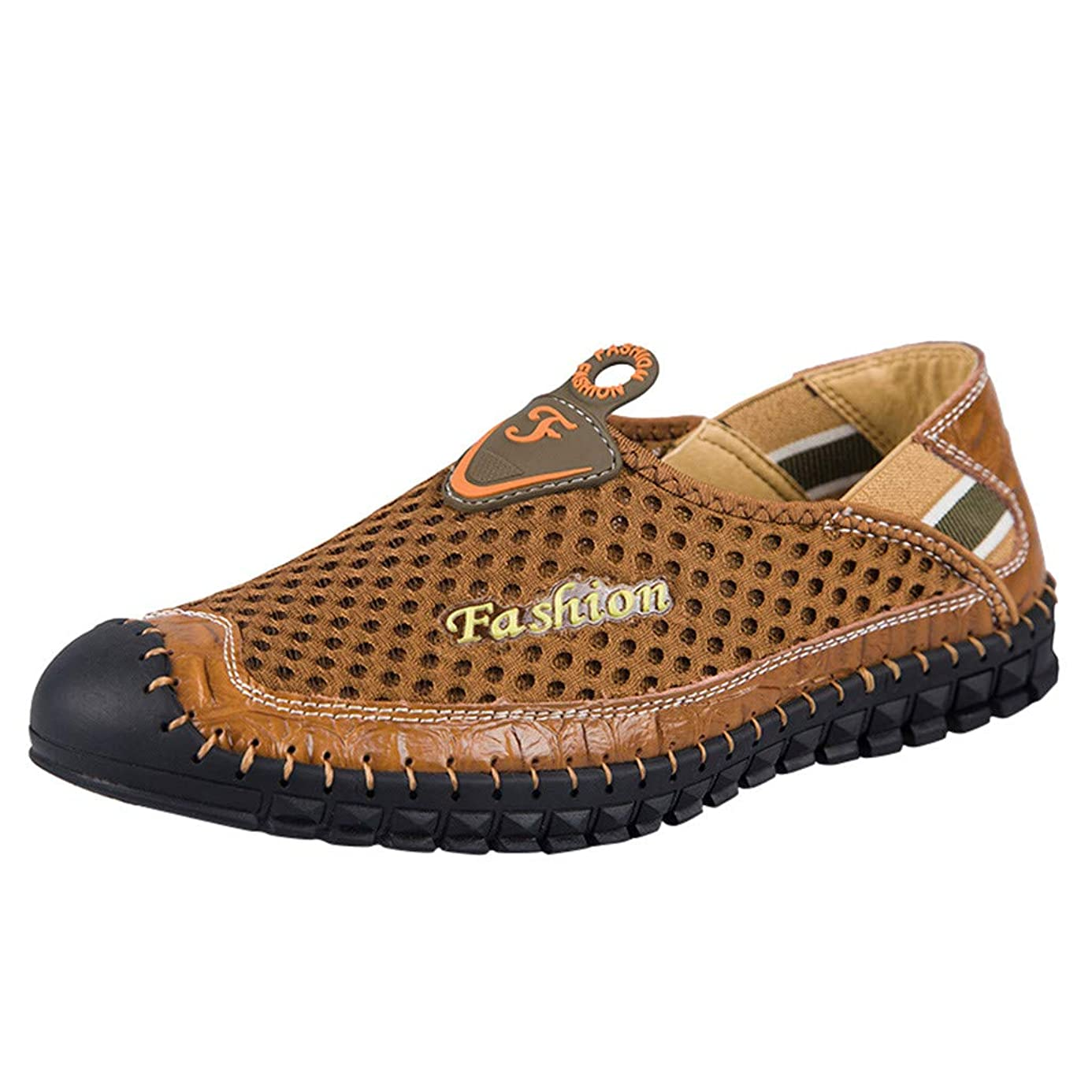 Mens Loafers Sneakers,Mosunx Athletic Boys Slip On Mesh Breathable Lightweight Outdoor Plus US Size 6.5 to 10.5 Casual Shoes (7, Brown)