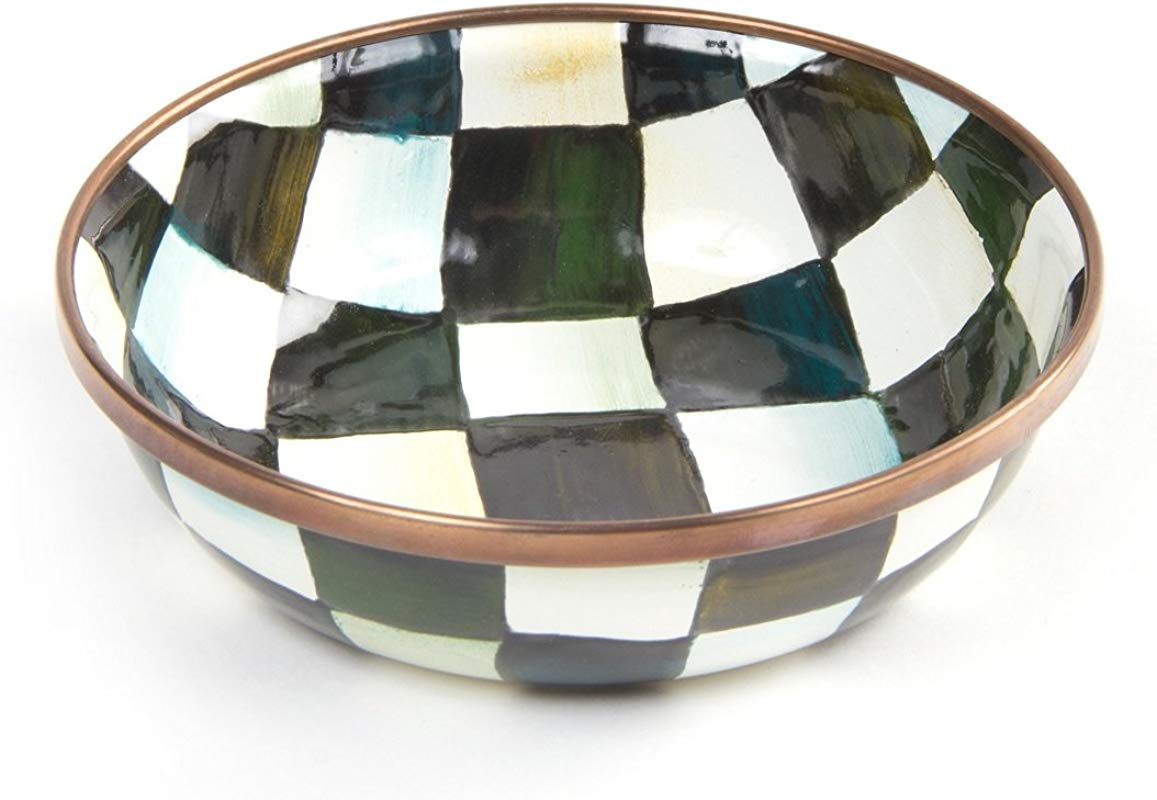 MacKenzie Childs Courtly Check Enamel Relish Dish Stainless Steel Round Plate Black And White Print 4 5 Dia