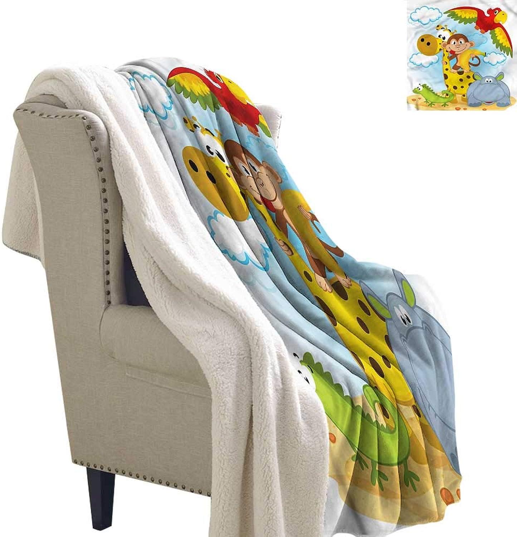 AndyTours Flannel Double Blanket Kids African Animals Cartoon Safari Washable Shaggy Fleece Blanket W59 x L31