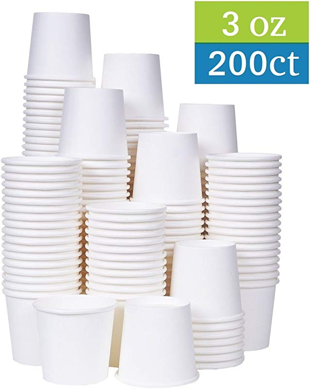 TashiBox 3 Oz White Paper Bath Cups 200 Count 200
