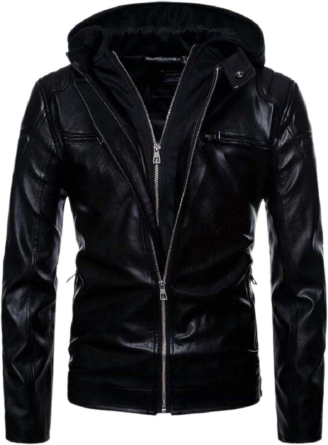 1e4107ae1 Tymhgt-CA Men Hooded Hooded Hooded Zipper Thickening Motorcycle ...