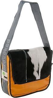 Provoked Messenger Bag BIG E3113- mit Kuhfell: schwarz LKW-Plane: hellorange, 38x30 cm