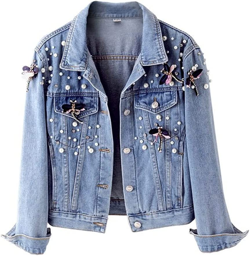 STRAW Autumn Denim Jacket Coat Women Beading Loose Overcoat Jeans Jacket Basic Coats Streetwear Long Sleeve Casual Outerwear (Color : Blue, Size : M Code)
