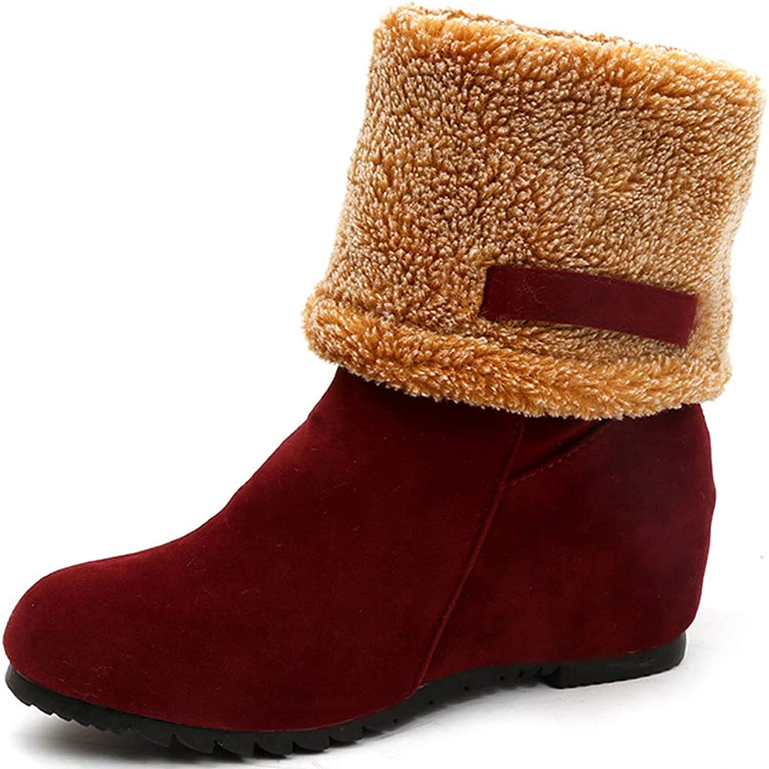 Hoxekle Women Winter Slip-On Faux Suede Height Increasing Plush Platform Ankle Boots Ladies Snow Boots Flat shoes
