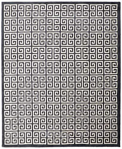 Modway Freydis Greek Key Trellis 8x10 Area Rug With Lattice Design In Black and White