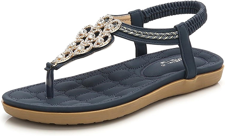 Wollanlily Women's Rhinestone Flat Sandals Glitter shoes Bohemian Summer Beach T-Strap Flip-Flops Thong Sandals