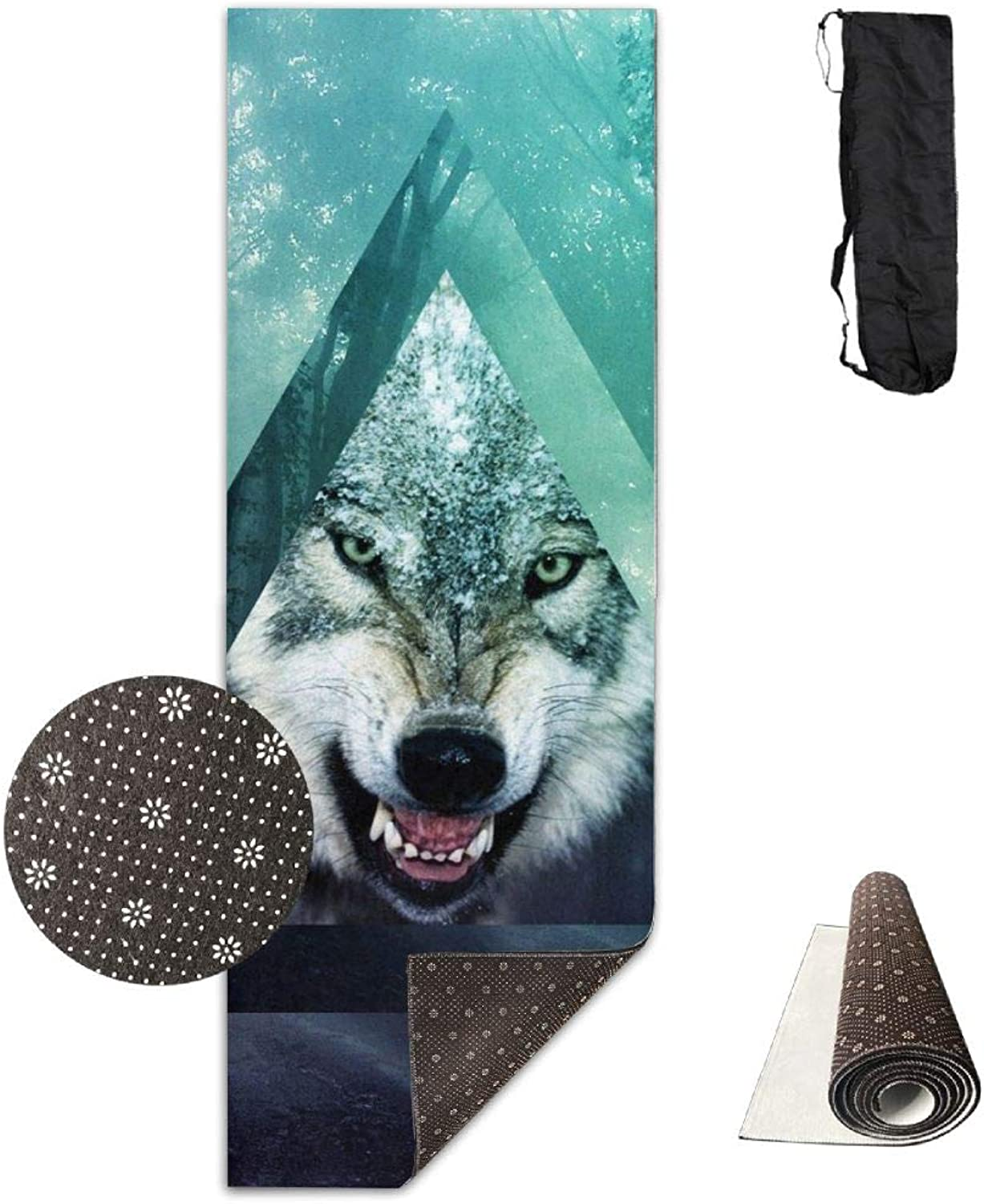 Yoga Mat Non Slip 24  X 71  Exercise Mats Forests Wolf Premium Fitness Pilates Carrying Strap