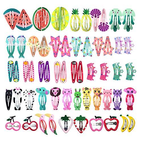 Pinza de Pelo para Niñas,60 Pcs Diseño de Dibujos y Fruta
