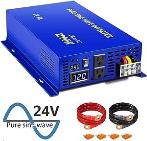 XYZ INVT 2000 Watt Pure Sine Wave Inverter 24V DC to 110v 120V AC, 2000W Car Power Invert Surge 4000W Power Converter for Solar System. (2000W 24V 120V)