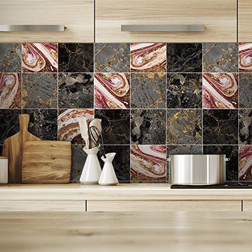 Alwayspon Vinilo adhesivo para pared de suelo para decoración del hogar, despegar y pegar autoadhesivo, para decoración de azulejos, para salón, cocina, baño, 10 unidades