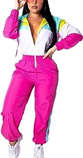 Women's One Piece Pants Outfits Colorblock Windbreaker Long Sleeve Zipper Front Hoodie Jumpsuit Romper