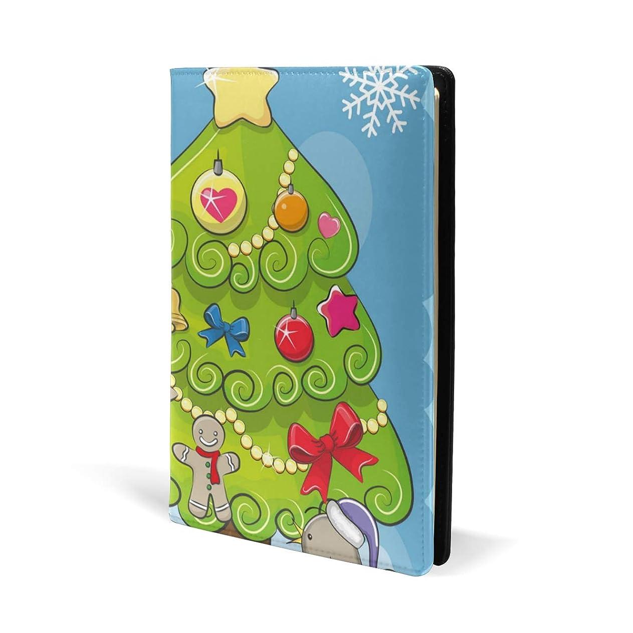 告白ウール飼料ブックカバー a5 ユニコーン クリスマスツリー 文庫 PUレザー ファイル オフィス用品 読書 文庫判 資料 日記 収納入れ 高級感 耐久性 雑貨 プレゼント 機能性 耐久性 軽量