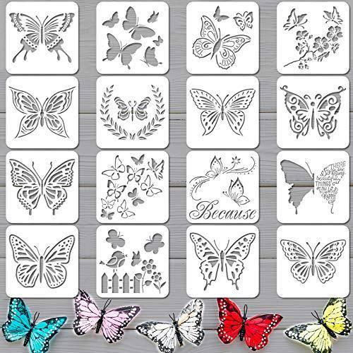 16 Piezas Plantillas de Mariposas Plantilla Reutilizable de Mariposa Plantillas de Pintura de Arte para Pintura Artesanal Pared DIY Decoración de Hogar Piso Tela Letreros de Madera