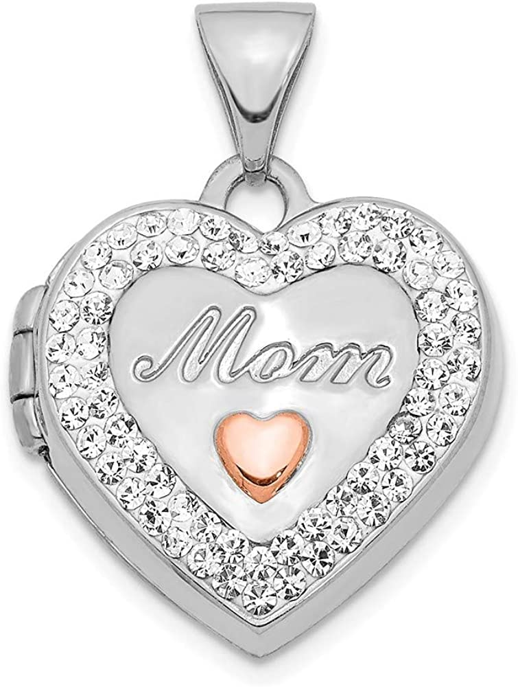 14k White Gold Rose Crystal 16mm Mom Heart Locket Pendant Charm Necklace Fine Jewelry For Women Gifts For Her