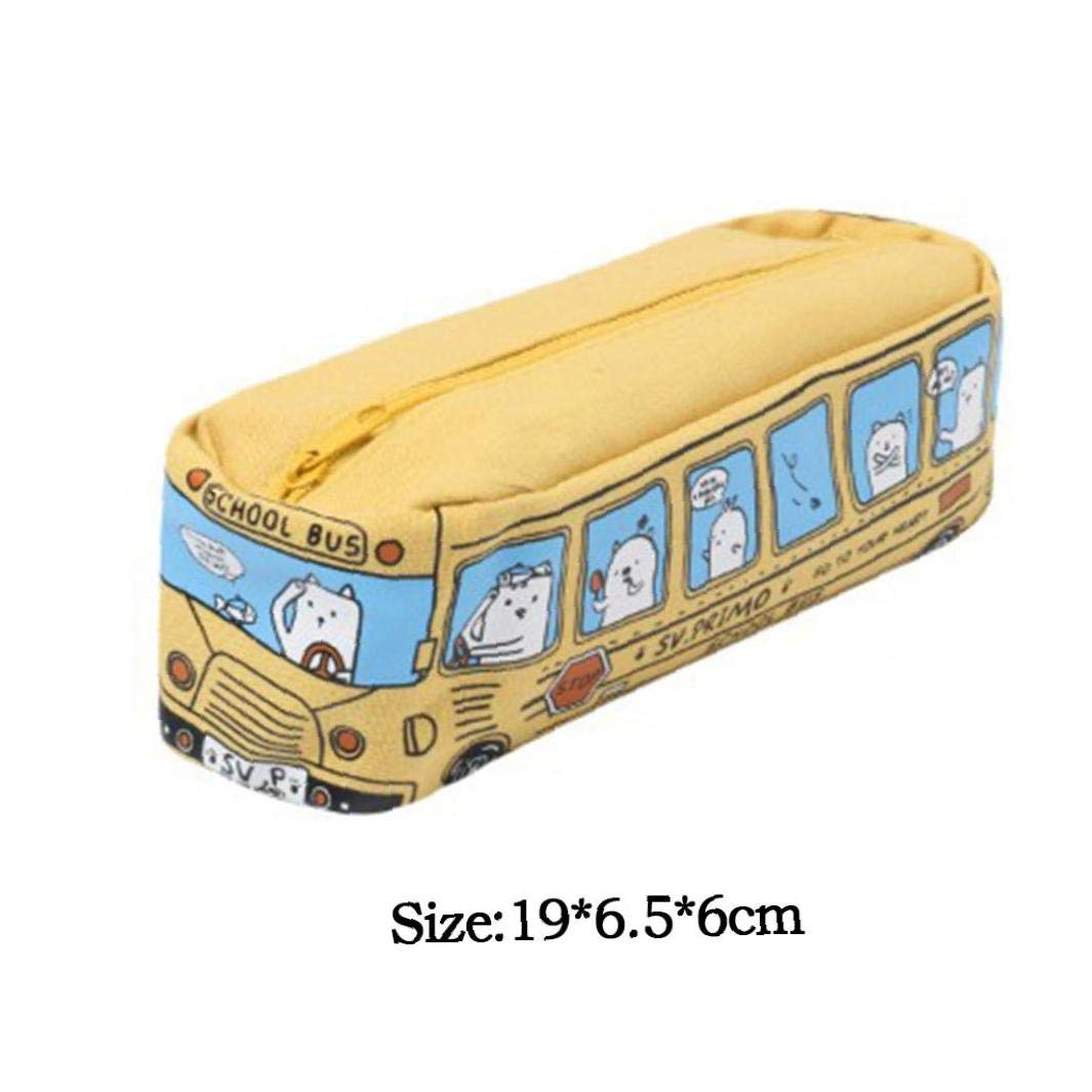Estuche de lona de tela Niños Gatos del autobús escolar lápiz bolsa Stationery Office lápiz del bolso de gran capacidad de papelería bolsa: Amazon.es: Oficina y papelería
